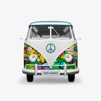 3d render hippie bus on white