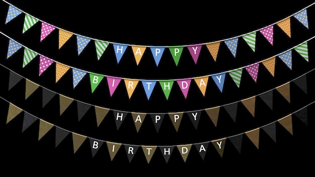 3d render holiday flags with the inscription happy birthday hanging on a rope on a black background