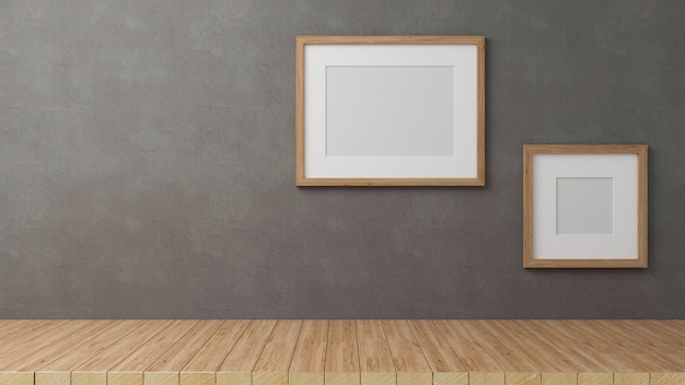 3d render, home decorations with mock up frames on grey loft wall background with copy space on wooden table, 3d illustration