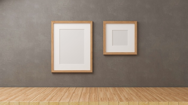 3d render, home decorations with mock up frames on grey loft wall background with wooden floor, 3d illustration