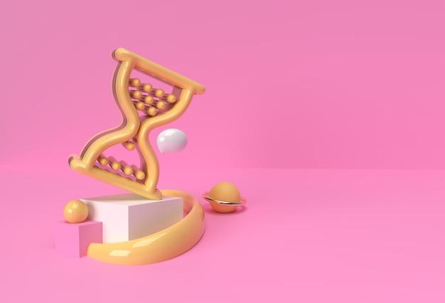 3d 렌더링 모래 시계 마우스 기호 디스플레이 제품 광고. 전단지 포스터 일러스트 디자인.