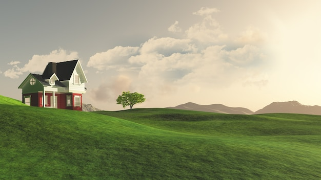 3d render of a house in the countryside