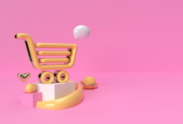 3d 렌더링 h쇼핑 카트 아이콘 제품 광고를 표시합니다. 전단지 포스터 일러스트 디자인.