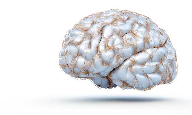 3d render of human brain with a gold structure that displays neural connections on white background