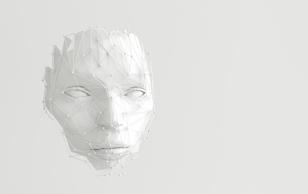 추상 웹 구조와 3d 렌더링 인간의 얼굴