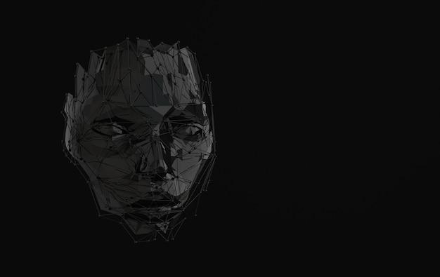 ウェブ構造で人間の顔を3dレンダリング人工知能の概念若い女性の顔