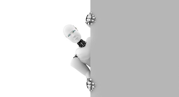 3d 렌더링 휴머노이드 로봇이 벽에서 나타납니다.
