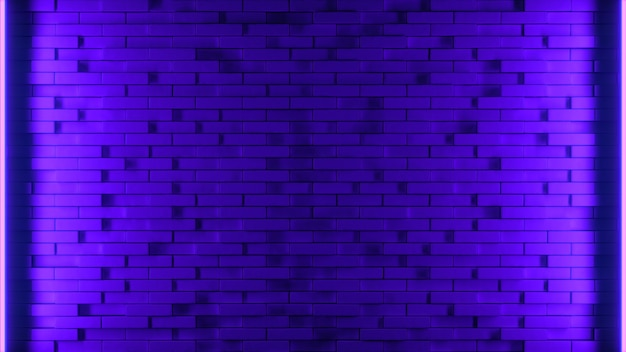 3d render illustration blue and purple brick wall with neon light background