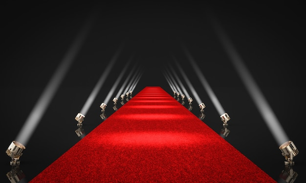 3d render illustration of an entrance with red carpet
