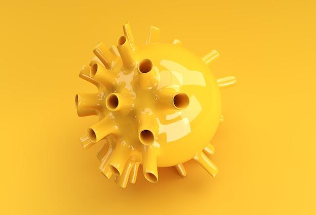 3d render illustration flu corona virus floating in fluid microscopic view design.