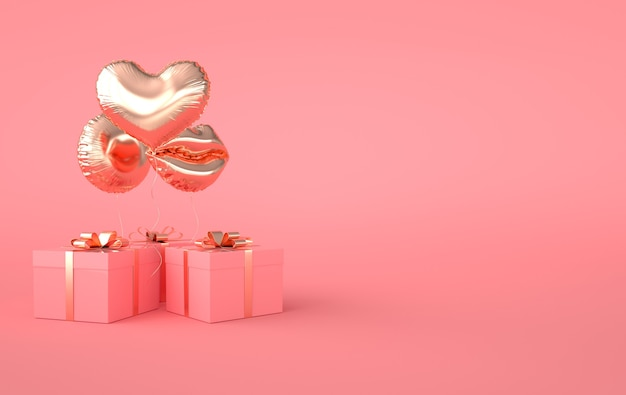3d render illustration of foil gold glossy heart balloon, gift box with golden bow on pink background