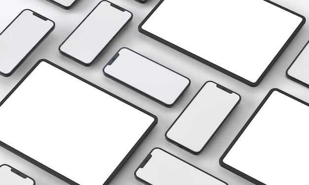 3d визуализация иллюстрации универсальный макет телефона и планшет в белом дизайне high key iphone ipad