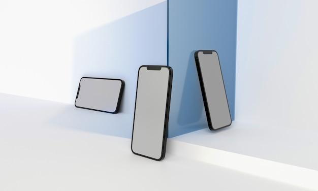 3dレンダリングイラスト一般的な電話のモックアップと白いデザインのタブレットハイキーiphoneipad