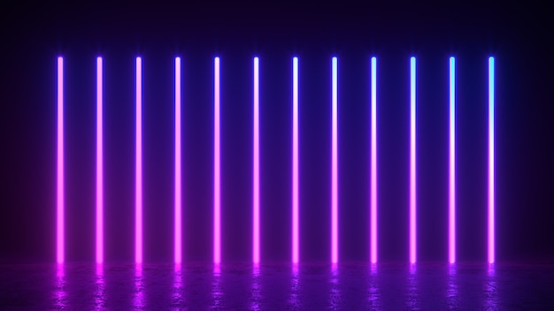 3d render illustration of glowing vertical lines, neon lights, abstract vintage retro background, ultraviolet, spectrum vibrant colors, laser show
