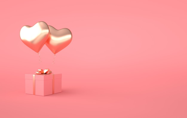 3d render illustration of gold glossy heart balloon, gift box with golden bow on pink