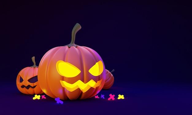 3d render illustration of halloween pumpkin head lantern decoration on dark blue