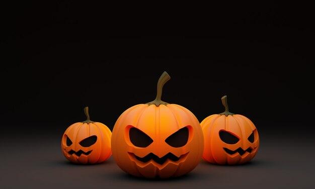 3d render illustration of halloween pumpkin head lanterns decoration on dark