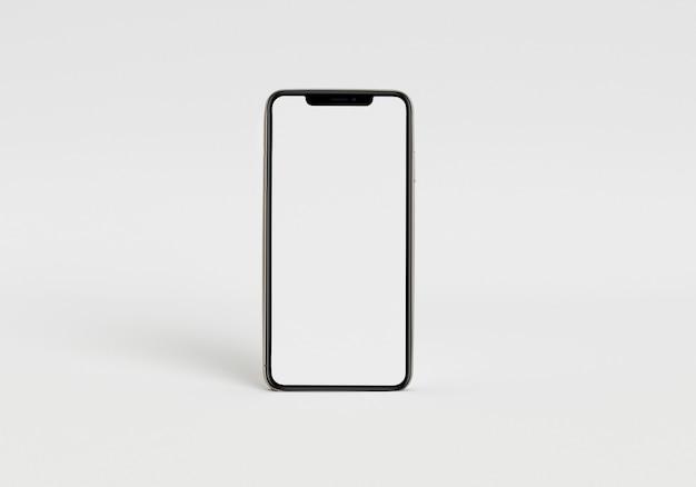 フルスクリーンとモダンなフレームレスdesiで白いスマートフォンを保持している3dレンダリングイラスト手