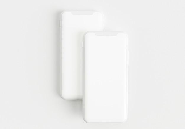 전체 화면과 현대적인 프레임이 적은 흰색 스마트폰을 들고 있는 3d 렌더링 그림 손