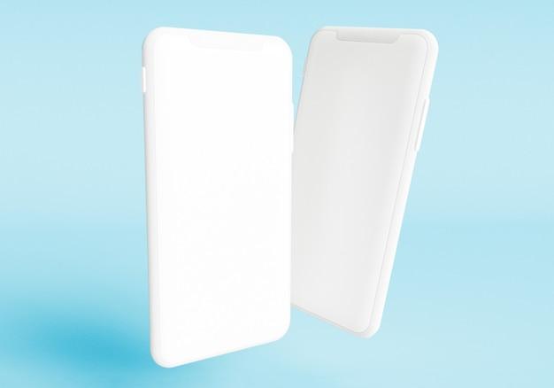 3d визуализация иллюстрации рука держит белый смартфон с полноэкранным экраном и современной рамкой без дези