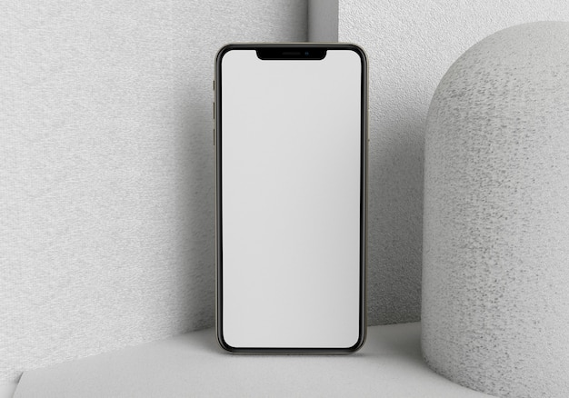 3d render illustration hand holding the white smartphone with full screen and modern frame less desi