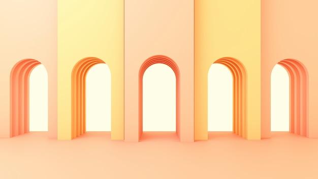 3d визуализация иллюстрации в современном геометрическом стиле арки и лестницы