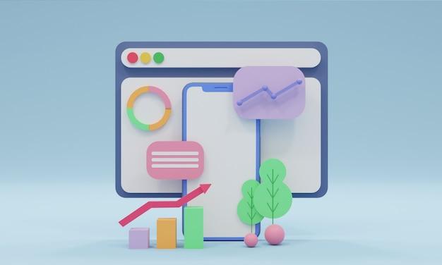 3d визуализация иллюстрации дизайн мобильной веб-разработки