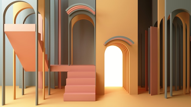 3d render illustration in modern geometric style arch and stair