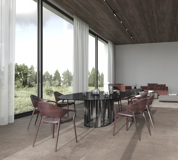3d render illustration modern luxury bright interior design dining and living room with forest view.