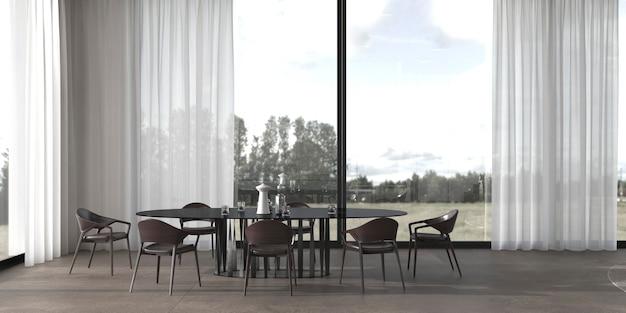 3d render illustration modern minimal interior design dining room.