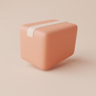 ボックスパッケージカードボックスパッキングボックスの3dレンダリングイラスト