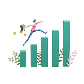 事業投資コンセプトの3dレンダリングイラスト