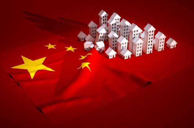 中国の不動産開発の3dレンダリングイラスト