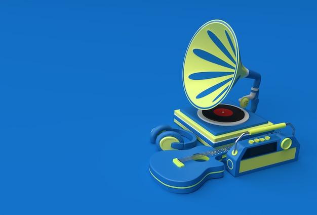 色の背景に蓄音機の3dレンダリングイラスト