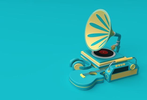컬러 배경에 축음기의 3d 렌더링 그림