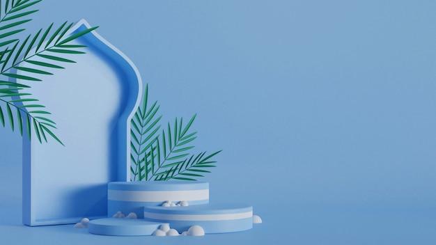 연단, 파란색 배경 및 복사 공간에 녹색 잎 모스크 문 모양의 3d 렌더링 그림.