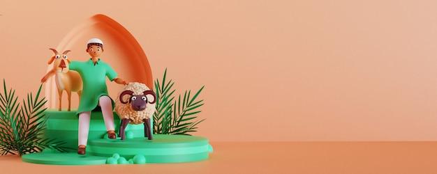 염소와 양을 들고 이슬람 어린 소년의 3d 렌더링 그림, 녹색 연단에 녹색 잎 및 공간 복사.