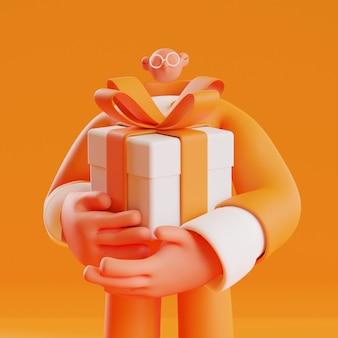 3d визуализация иллюстрации социальной активности человека, держащего большую подарочную коробку, чтобы вознаградить кого-то за милый стиль