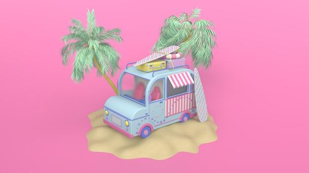 3d визуализация иллюстрации летнего ретро-фургона и досок для серфинга, дорожный чемодан и пальмы