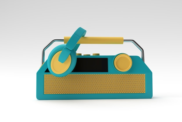 白い背景で隔離の古いビンテージレトロスタイルのラジオ受信機の3dレンダリングイラスト。