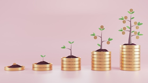 3d render illustration.  plant coin of money on coins stack. business finance and money concept.