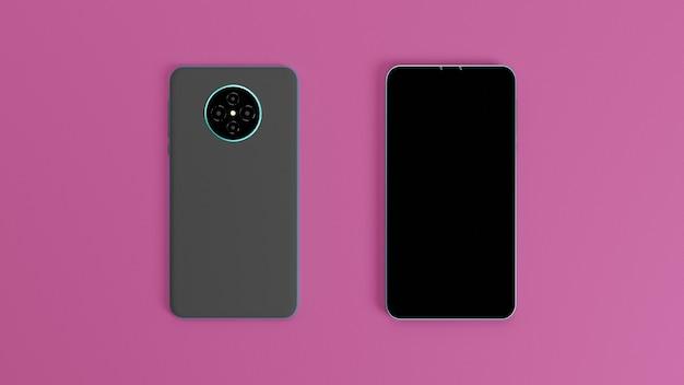3d 렌더링 그림 화면 스마트 폰 앞면과 뒷면 청록색 금속 프레임과 분홍색 배경