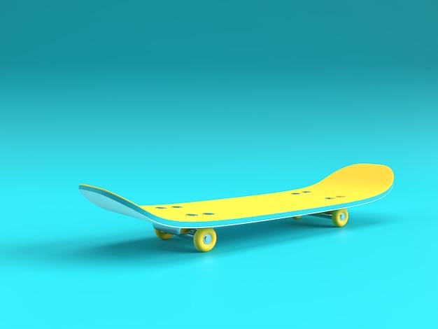 3d 렌더링 그림 스케이트 보드 색상 배경에 고립