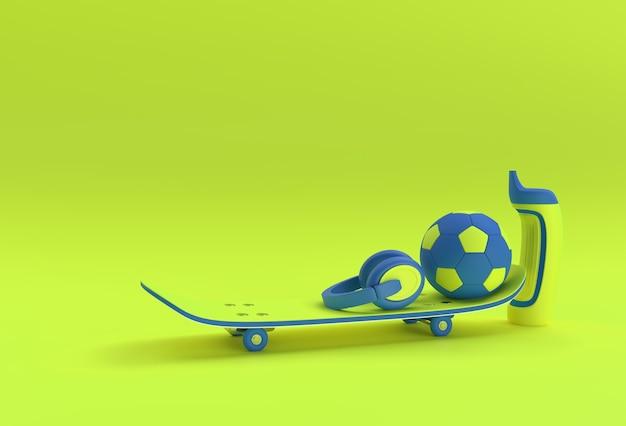 3d 렌더링 그림 축구와 헤드폰 색상 stears 배경에 고립 된 스케이트 보드