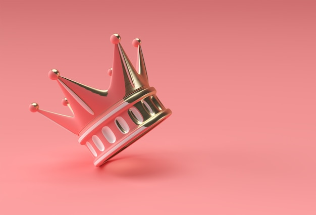 3d render illustration turquoise crown isolated on color background