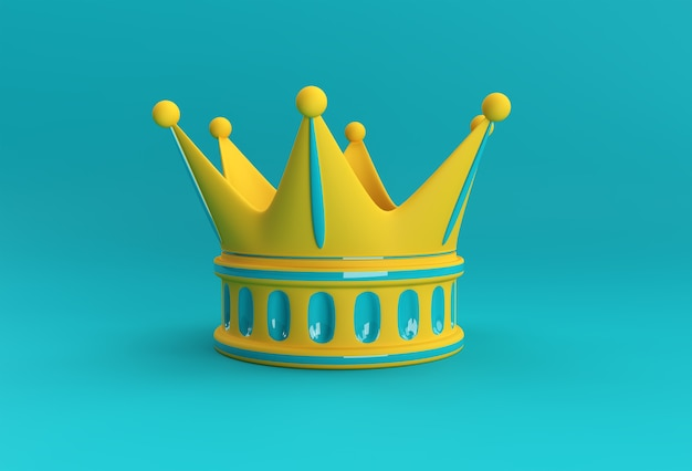 3d 렌더링 그림 청록색 왕관 색상 배경에 고립