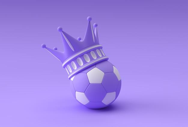 色の背景に分離されたサッカーと3dレンダリングイラストターコイズクラウン