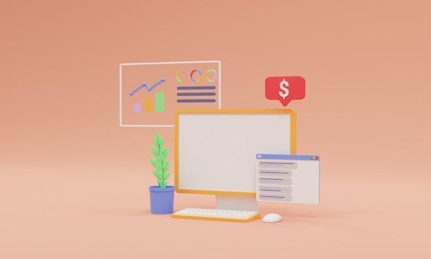 3d render illustration web analytics