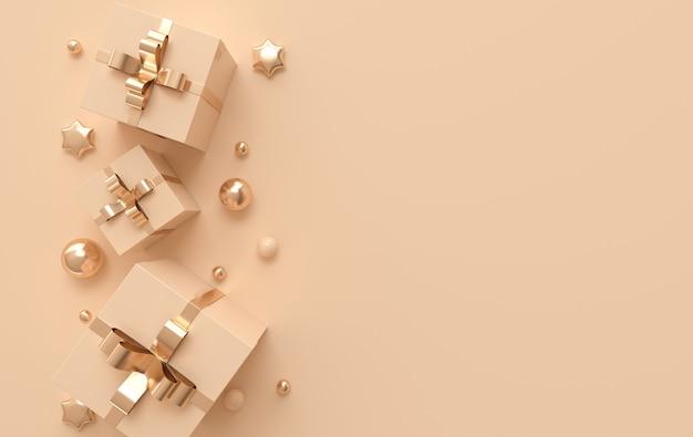 3d визуализация иллюстрации с пастельными и золотыми шарами, звездами, подарочной коробкой