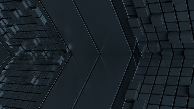 3d render illustration with simple geometry shapes. metal reflective planes and cubes. concept for technology or abstract background.